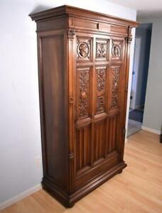 French Antique Gothic Revival Storage Cabinet Armoire Bonnetiere In Solid Walnut
