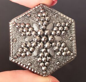 Antique Button Perfect Lacy Black Glass Hexagon With Silver Luster