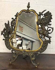 Victorian Brass Griffin Mirror