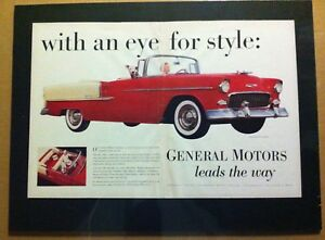 1955 Chevrolet Belair Convertible Gm Car Ready To Display Print Ad 1954 1956