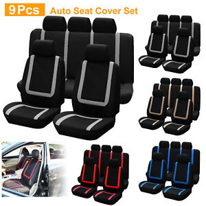 9pcs Auto Seat Cover Full Set Front Seat Back Bench Rear Backrest Universal