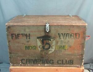Vintage Antique Wood Chest Fifth Ward Camping Club Pottstown Pa Large Box Trunk