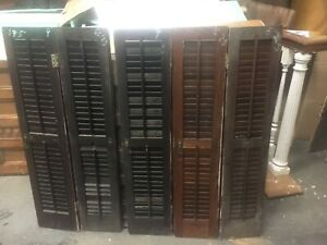 Set 5 Victorian Chestnut Interior Window Shutters Old Varnish 39 5 H X 8 25 9