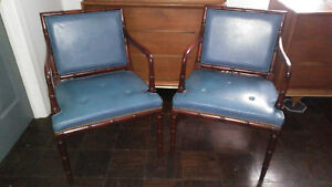 Hickory Chair Co Vintage Matching Pair Of Blue Leather Bamboo Style Arm Chairs