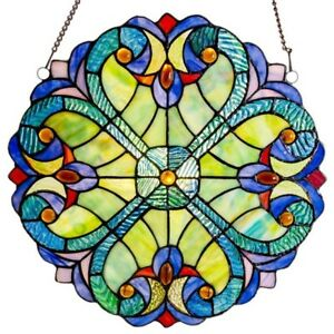 Tiffany Style Stained Glass Window Panels Multi Colors 12 Round Matching Pair