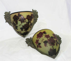Pair French Galle Style Art Nouveau Red Rose Cameo Glass Bronze Wall Sconce