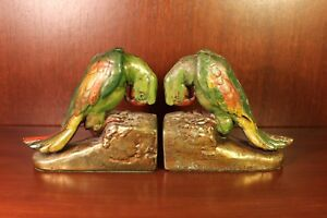 1920s Parrot Bird Bookends 5 Lbs Antique Art Deco Book End Armor Bronze Rare