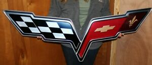C6 Corvette 2009 2013 Zr1 Crossed Flags Supercharged Metal Sign 34x8