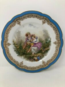 Sevres France Chateau De St Cloud Blue Gold Courting Scene Cabinet Plate 8 3 8