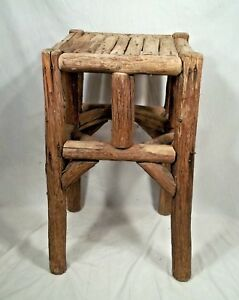 Antique 19th Or Early 20th Century Rustic Old Hickory Adirondack Log Cabin Stand