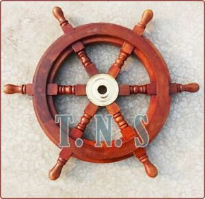 New 18 Nautical Marine Vintage Rosewood Ship Wheel Wooden Brass Ring Wall Decor