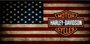 Harley Davidson American Flag Background Metal Novelty License Plate Tag