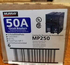 Qty 6 Murray Mp250 50amp 2 Pole 240v Circuit Breaker New Free Shipping