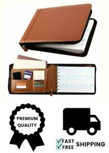 7 Ring Binder For 3 up Checks Pu Leather Checkbook Cover With Zipper brown
