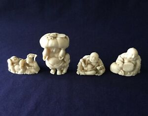 4 Vintage Japanese Or China Plastic Netsuke Figurines Asian Buddha Miniatures