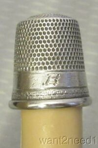 Antique Simons Sterling Silver Thimble 11 Monogram B On Plain Band