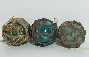 Japanese Glass Fishing Float Round Netted Buoy Balls Authentic Lot Of 3