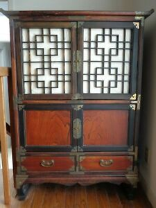 Korean Chest Vintage Korea 1970 S Handmade Lattice Front 2 Level