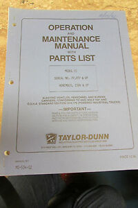 Taylor dunn 2534ss ss 025 34 Parts maintenance operation Manual 1984 td Model Ss