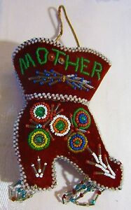 Antique Beaded Souvenir Pin Cushion Mother Boot Iroquois American Indian Whimsey