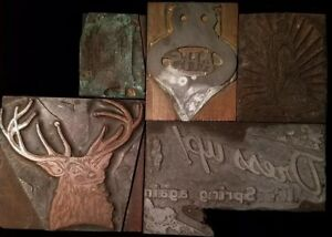 Letterpress Printing Block Press Wood Metal Lot Of 5 Assorted Ages And Themes