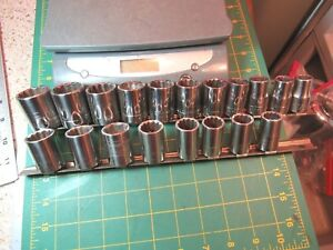 19 Piece Vtg Usa Craftsman 1 2 Drive Metric Sae Short 12 Pt Sockets W Holders