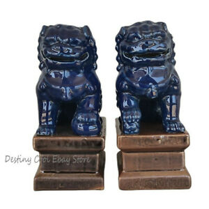 Retro Qing Dynasty China Old Pair Blue Glazed Porcelain Foo Dog Statues Ornament