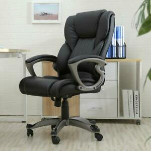 Ergonomic Pu Leather Office Chair High Back Swivel Executive Desk Task Black
