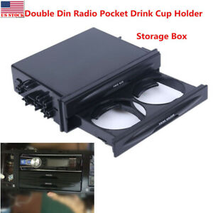 Double Din Radio Pocket Drink Cup Holder Universal Storage Box For Auto Vehicle