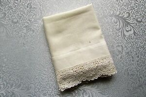 Vintage Antique Cream Small 14 1 2 X 23 Pillowcase With Lace Edge