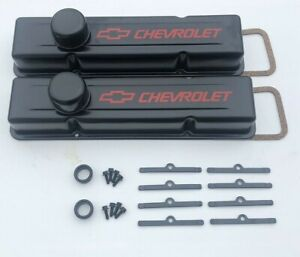 Chevy Valve Covers Covers Tall Black Kit Sbc 350 383 Kit Hardware New Steel