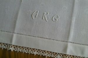 Vintage 27 Irish Linen Towel Hand Embroidery Tatted Lace Monogram Hkg