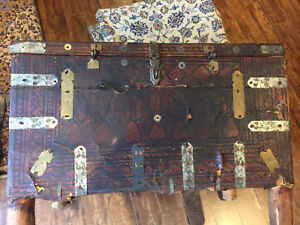 200 Year Old Eastern Leather Bound Wooden Travel Chest