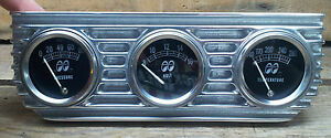Vtg Style Moon 3 Gauge Set Finned Under Dash Panel Hot Rod Drag Racing Lowrider