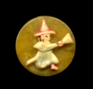 Vintage Button Celluloid Witch On Broom