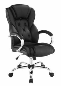 Black Leatherette Upholstered Office Chair With Chrome Metal Base 800879