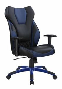 High Back Black And Blue Leatherette Upholstered Office Chair With Arms 801468