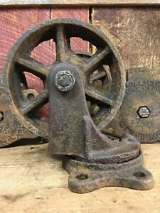 Vintage Industrial Cast Iron Cart Wheel 6 Service Castor T Co 1917 Set Of 4