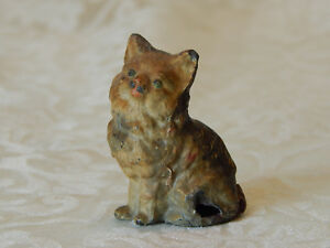 Antique Vintage Cold Painted Hollow Cast Metal Cat Figurine Missing Ink Well