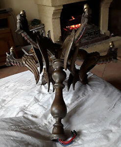 Vintage French Luster Wood Carved Gothic Dragons 6 Arms Lamp Chandelier Chimera