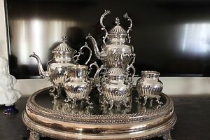 Antique 5 Pieces Silver Plate On Copper Tea Or Coffee Set