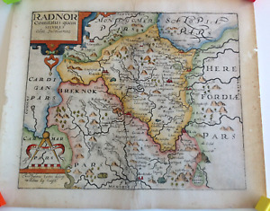 1610 1637 Antique Map Of Radnorshire Wales Saxton Kip