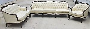 Vintage 3 Pc Kingsley Furn Co Louis Xv Style Tufted Sofa Settee