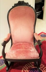 Antique Victorian Parlor Room Rocking Chair Refurbished Reupholstered Mahogany