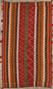 Antique Old Collectable Striped Tribal Wool Red Persian Kilim Jajim Area Rug 5x8