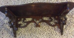 Vintage Wooden Varnished Wall Shelf 1950 S Era