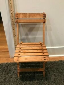Antique Wooden Small Folding Chair Child Or Doll