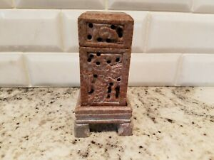 Vtg Soapstone Hand Carved Chinese 4 Part Wax Seal Stamp Euc