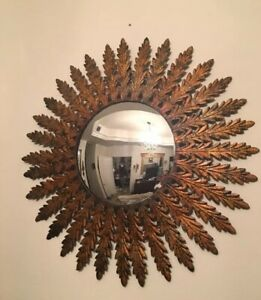 Vintage Mid Century Italian Convex Mirror Sunburst Leaves Distressed Gold Metal