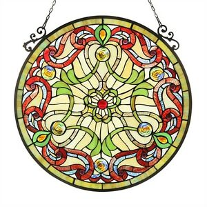 Tiffany Style Stained Glass 23 4 Round Window Panel Only One This Price